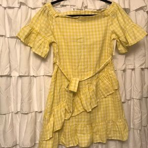 Yellow plaid She + Sky dress. Size medium. NWT